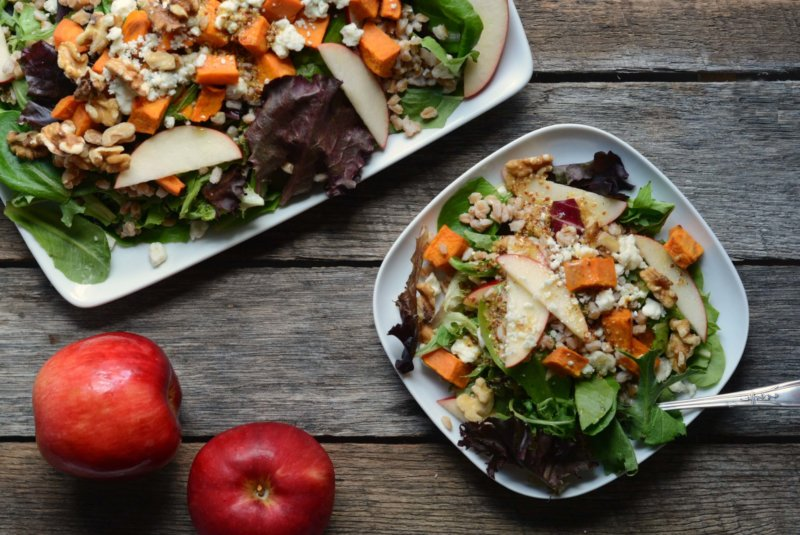 Cold Farro Salad With Apple and Sweet Potato