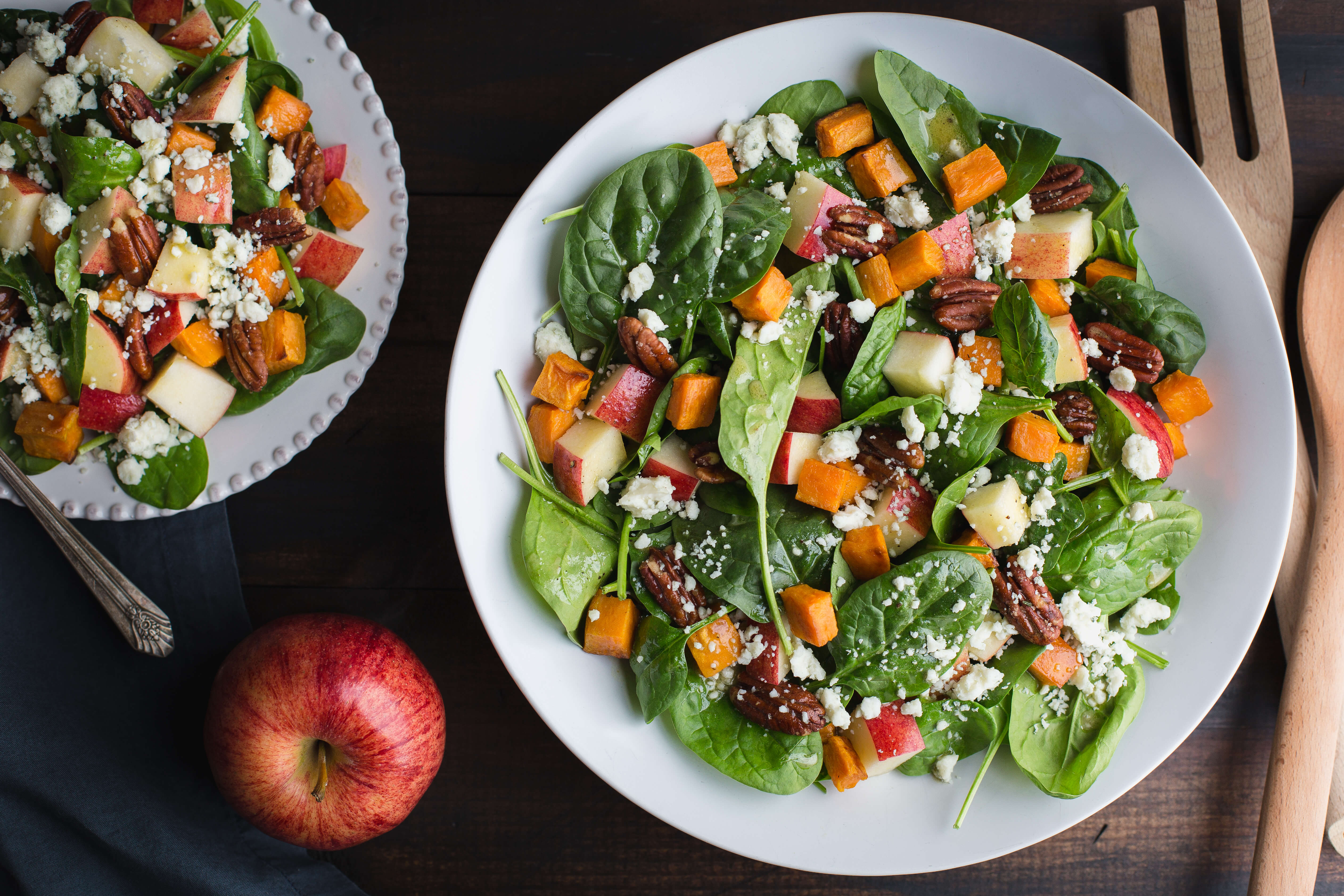 Spinach Salad with Roasted Sweet Potatoes and Apple